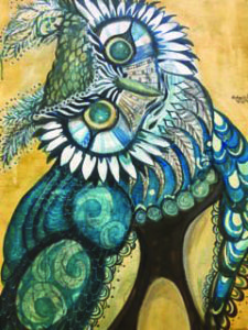 Original decorative painting of an owl in blues and yellows.