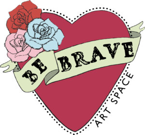 Be Brave Artspace logo inspired by Frida Kahlo and her art.