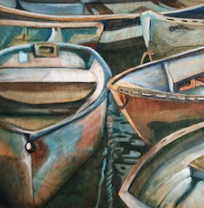 Original painting of a crowd of row boats.