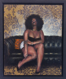 Painting of a woman seated on a black lounge with wall paper.