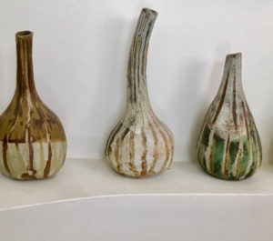 Three hand crafted ceramic gourds