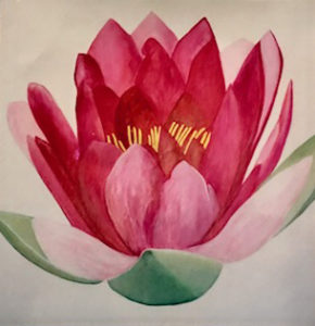 Original painting of a pinky-red lotus flower.