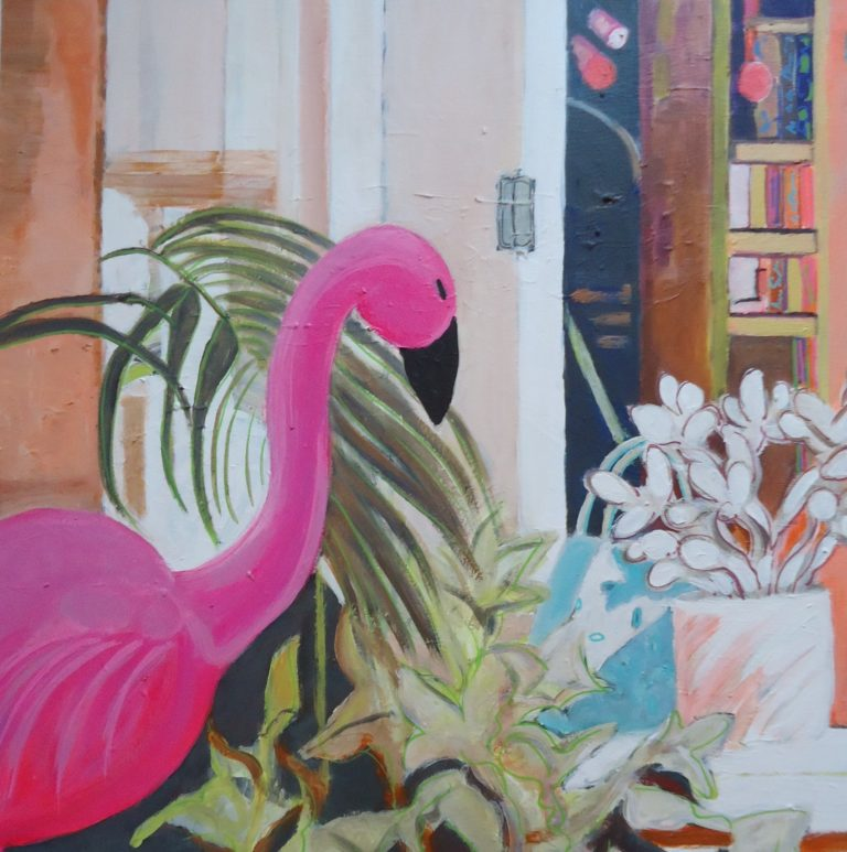 Garden Study with Pink Flamingo by Jackie Fewtrell Gobertby
