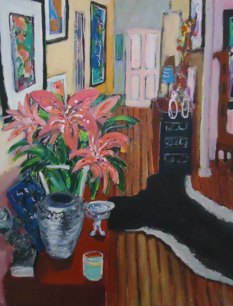Hallway with Large Flower Arrangement by Jackie Fewtrell Gobert