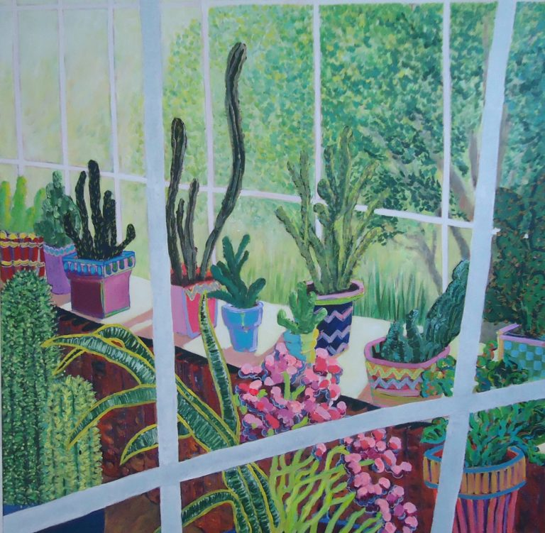 Interior Garden with Cacti by Jackie Fewtrell Gobert