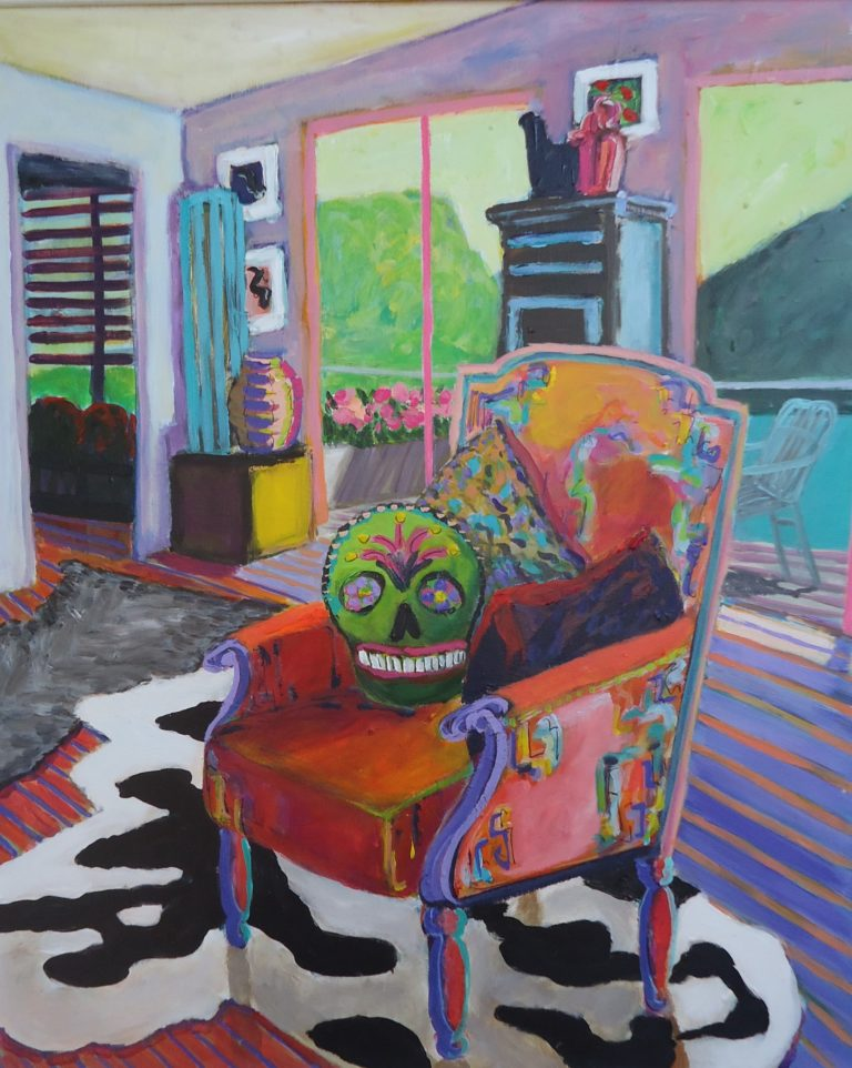 Interior with Chair and Cowhides by Jackie Fewtrell Gobert