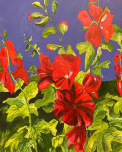 Rosie Nankervis - Red Hollyhocks