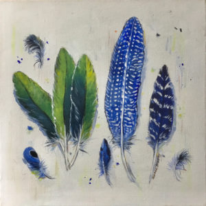 Dianne Bradley - Blue Speckled and Green Feathers